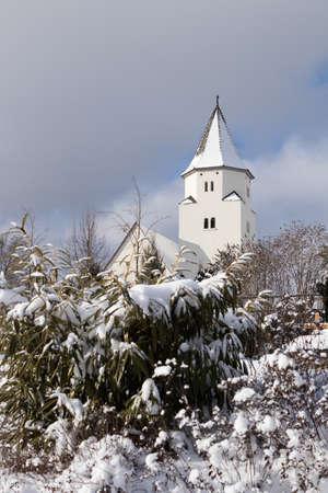 Totenberg cemetery and the Peterskirche in Heidenheim an der Brenz (Baden-Wurttemberg, Germany) in winter.