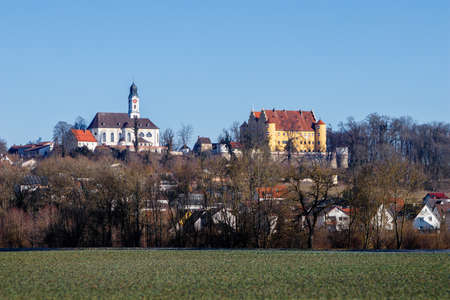 The renaissance Erbach Castle and the baroque Church of St. Martin in Erbach an der Donau, Baden-Wurttemberg, Germany.