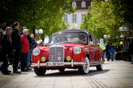 LUDWIGSBURG, GERMANY - APRIL 23, 2017: Mercedes Benz 219 W105 Ponton oldtimer car at the eMotionen event on April 23, 2017 in Ludwigsburg, Germany. Front view.