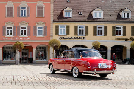 LUDWIGSBURG, GERMANY - APRIL 23, 2017: Mercedes Benz 219 W105 Ponton oldtimer car at the eMotionen event on April 23, 2017 in Ludwigsburg, Germany. Rear side view.