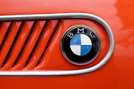 LUDWIGSBURG, GERMANY - APRIL 23, 2017: BMW oldtimer car at the eMotionen event on April 23, 2017 in Ludwigsburg, Germany. Close-up of the side emblem and grille.