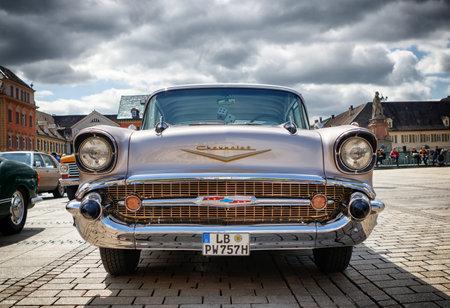 grille: LUDWIGSBURG, GERMANY - APRIL 23, 2017: Chevrolet Bel Air oldtimer car at the eMotionen event on April 23, 2017 in Ludwigsburg, Germany. Front view.