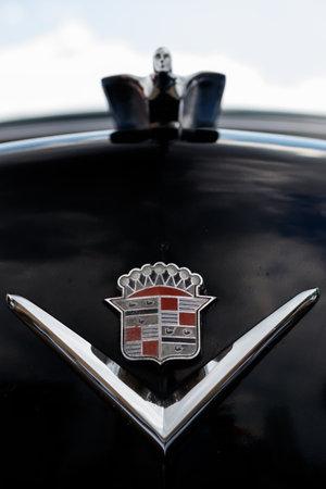 NORDLINGEN, GERMANY - APRIL 29, 2017: Cadillac Deville oldtimer car at the MotoTechnika oldtimer meeting on April 29, 2017 in Nordlingen, Germany. Close-up of the front emblem.