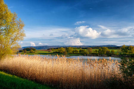 The reservoir lake at Rainau Buch, near Ellwangen (Jagst) in Baden-Wurttemberg, Germany.