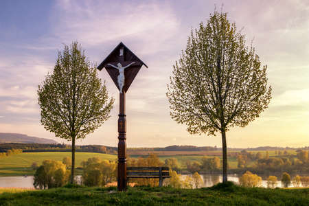 The reservoir lake at Rainau Buch, near Ellwangen (Jagst) in Baden-Wurttemberg, Germany at evening sunset.