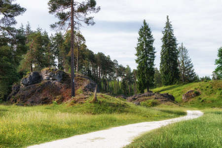 Scenery with rocks and trees in Wental (Wen Valley) Felsenmeer in the Swabian Alb near Bartholomä, Baden-Württemberg, Germany. Stock Photo