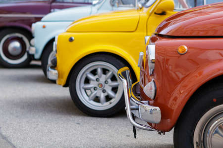 Reutlingen, Germany - August 20, 2017: Fiat 500 oldtimer cars at the Reutlinger Oldtimertag event on August 20, 2017 in Reutlingen, Germany.