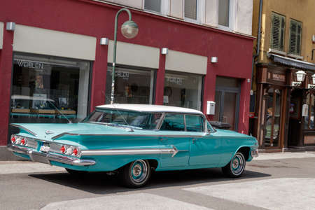 Reutlingen, Germany - August 20, 2017: Chevrolet Impala oldtimer car at the Reutlinger Oldtimertag event on August 20, 2017 in Reutlingen, Germany.