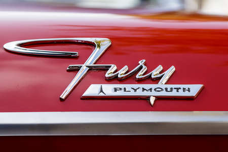 Laupheim, Germany - September 24, 2017: Plymouth Fury oldtimer car at the US Car Meeting event on September 24, 2017 in Laupheim, Germany. Editorial