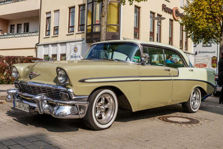 Laupheim, Germany - September 24, 2017: Chevrolet Bel Air oldtimer car at the US Car Meeting event on September 24, 2017 in Laupheim, Germany. Editorial