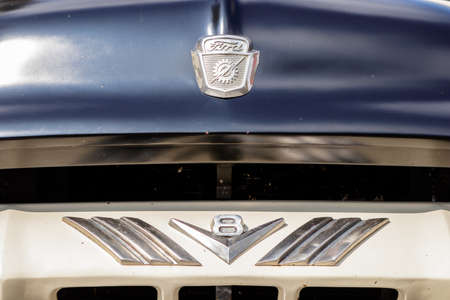 Laupheim, Germany - September 24, 2017: Ford F-100 oldtimer car at the US Car Meeting event on September 24, 2017 in Laupheim, Germany.