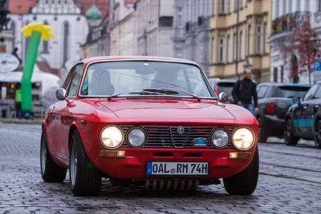 Augsburg, Germany - October 1, 2017: Alfa Romeo 2000 GT Veloce GTV oldtimer car at the Fuggerstadt Classic 2017 Oldtimer Rallye on October 1, 2017 in Augsburg, Germany. Editorial