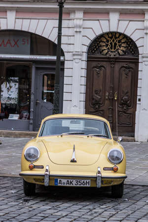 Augsburg, Germany - October 1, 2017: Porsche 356 oldtimer car at the Fuggerstadt Classic 2017 Oldtimer Rallye on October 1, 2017 in Augsburg, Germany. Editorial