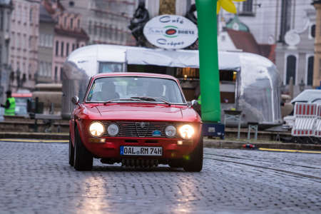 Augsburg, Germany - October 1, 2017: Alfa Romeo 2000 GT Veloce GTV oldtimer car at the Fuggerstadt Classic 2017 Oldtimer Rallye on October 1, 2017 in Augsburg, Germany. Editorial