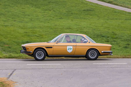 Augsburg, Germany - October 1, 2017: BMW 3.0 CS oldtimer car at the Fuggerstadt Classic 2017 Oldtimer Rallye on October 1, 2017 in Augsburg, Germany.
