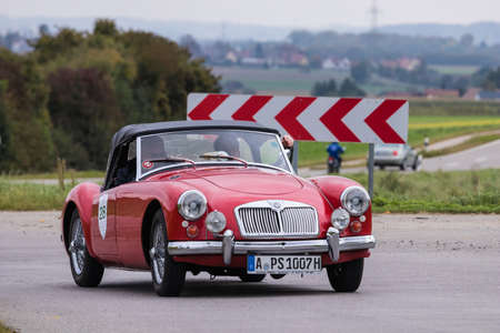 Augsburg, Germany - October 1, 2017: MG oldtimer car at the Fuggerstadt Classic 2017 Oldtimer Rallye on October 1, 2017 in Augsburg, Germany. Editorial