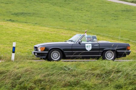 Augsburg, Germany - October 1, 2017: Mercedes-Benz 450 SL AMG oldtimer car at the Fuggerstadt Classic 2017 Oldtimer Rallye on October 1, 2017 in Augsburg, Germany. Editorial