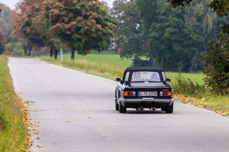 Augsburg, Germany - October 1, 2017: Triumph TR6 oldtimer car at the Fuggerstadt Classic 2017 Oldtimer Rallye on October 1, 2017 in Augsburg, Germany. Editorial