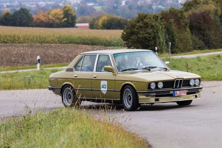 Augsburg, Germany - October 1, 2017: BMW Alpina oldtimer car at the Fuggerstadt Classic 2017 Oldtimer Rallye on October 1, 2017 in Augsburg, Germany. Editorial