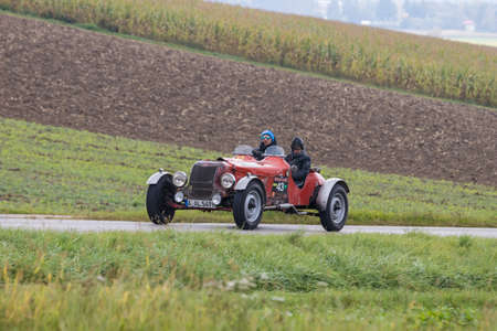 Augsburg, Germany - October 1, 2017: 1949 Allard M-Type oldtimer car at the Fuggerstadt Classic 2017 Oldtimer Rallye on October 1, 2017 in Augsburg, Germany. Editorial