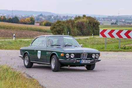 Augsburg, Germany - October 1, 2017: BMW 3.0 CSi oldtimer car at the Fuggerstadt Classic 2017 Oldtimer Rallye on October 1, 2017 in Augsburg, Germany.
