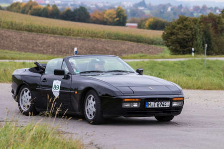 Augsburg, Germany - October 1, 2017: Porsche 944 oldtimer car at the Fuggerstadt Classic 2017 Oldtimer Rallye on October 1, 2017 in Augsburg, Germany.