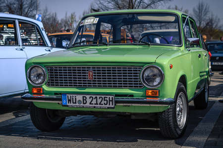 Ludwigsburg, Germany - April 8, 2018: Zhiguli Lada oldtimer car at the 2018 Retro Season Opener meeting and show.
