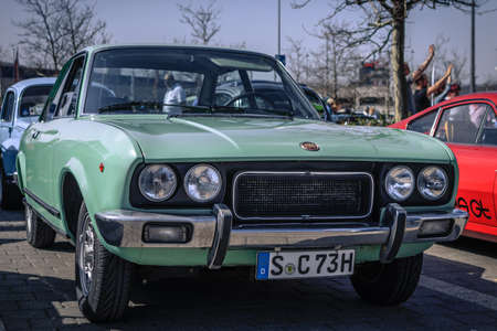 Ludwigsburg, Germany - April 8, 2018: Fiat 124 Sport 1800 oldtimer car at the 2018 Retro Season Opener meeting and show.