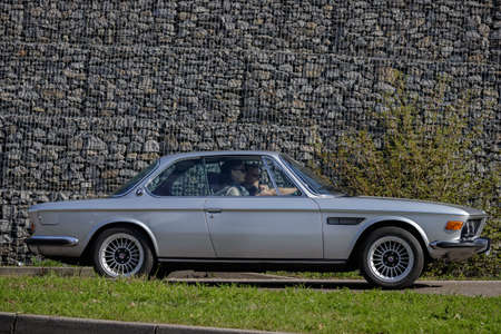 Ludwigsburg, Germany - April 8, 2018: 1975 BMW 3.0 CS oldtimer car at the 2018 Retro Season Opener meeting and show.