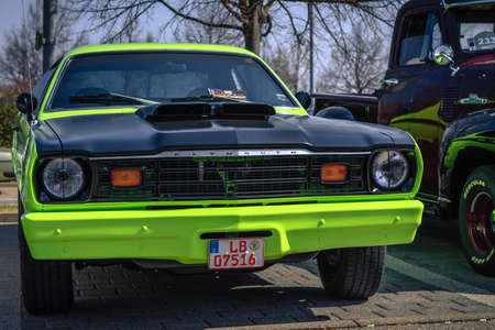 Ludwigsburg, Germany - April 8, 2018: Plymouth oldtimer car at the 2018 Retro Season Opener meeting and show. Editorial
