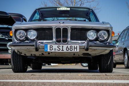 Ludwigsburg, Germany - April 8, 2018: BMW 3.0 CSi oldtimer car at the 2018 Retro Season Opener meeting and show.