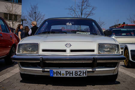 Ludwigsburg, Germany - April 8, 2018: Opel Manta oldtimer car at the 2018 Retro Season Opener meeting and show.