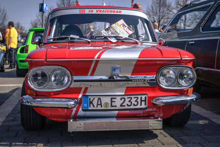Ludwigsburg, Germany - April 8, 2018: NSU TT oldtimer car at the 2018 Retro Season Opener meeting and show.