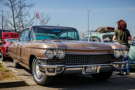 Ludwigsburg, Germany - April 8, 2018: Cadillac oldtimer car at the 2018 Retro Season Opener meeting and show. Stock Photo - 101569162