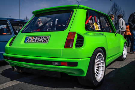 Ludwigsburg, Germany - April 8, 2018: Renault 5 Turbo oldtimer car at the 2018 Retro Season Opener meeting and show.