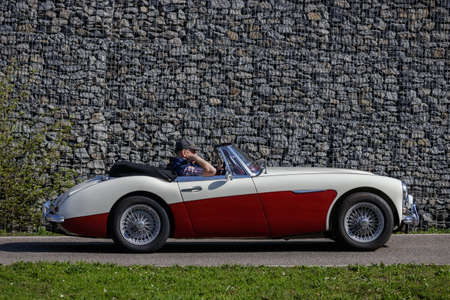 Ludwigsburg, Germany - April 8, 2018: Austin-Healey oldtimer car at the 2018 Retro Season Opener meeting and show.