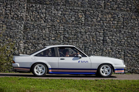 Ludwigsburg, Germany - April 8, 2018: Opel Manta i200 Irmscher oldtimer car at the 2018 Retro Season Opener meeting and show.