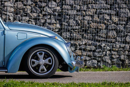 Ludwigsburg, Germany - April 8, 2018: Volkswagen VW Beetle oldtimer car at the 2018 Retro Season Opener meeting and show.