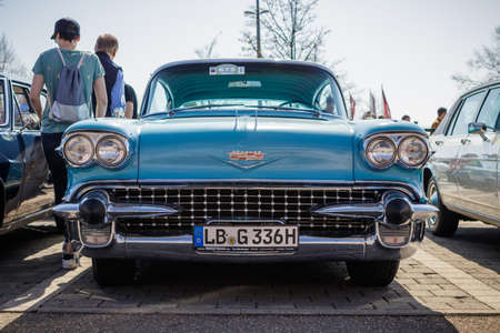 Ludwigsburg, Germany - April 8, 2018: Cadillac oldtimer car at the 2018 Retro Season Opener meeting and show.