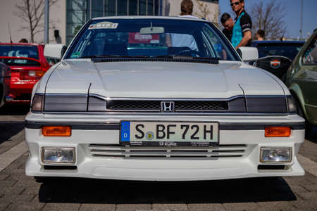 Ludwigsburg, Germany - April 8, 2018: Honda Prelude oldtimer car at the 2018 Retro Season Opener meeting and show.