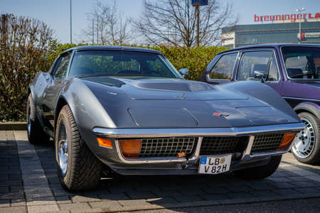Ludwigsburg, Germany - April 8, 2018: Chevrolet Corvette Stingray oldtimer car at the 2018 Retro Season Opener meeting and show.