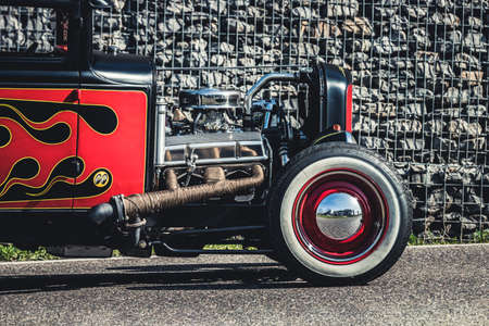 Ludwigsburg, Germany - April 8, 2018: Oldtimer car at the 2018 Retro Season Opener meeting and show.