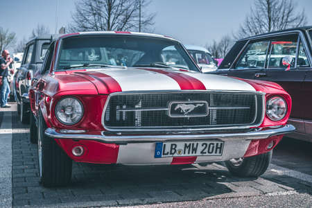Ludwigsburg, Germany - April 8, 2018: Ford Mustang oldtimer car at the 2018 Retro Season Opener meeting and show.