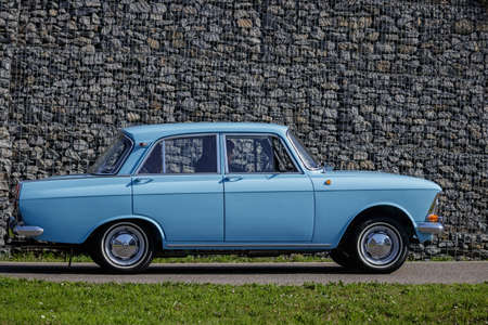 Ludwigsburg, Germany - April 8, 2018: Moskvitch oldtimer car at the 2018 Retro Season Opener meeting and show.