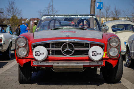Ludwigsburg, Germany - April 8, 2018: Mercedes-Benz oldtimer car at the 2018 Retro Season Opener meeting and show.