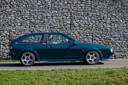 Ludwigsburg, Germany - April 8, 2018: Volkswagen VW Scirocco oldtimer car at the 2018 Retro Season Opener meeting and show.