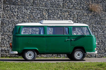 Ludwigsburg, Germany - April 8, 2018: Volkswagen VW Type 2 bus oldtimer car at the 2018 Retro Season Opener meeting and show. Editorial