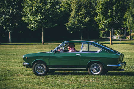 Heidenheim, Germany - July 8, 2018: Fiat 850 Coupe at the 2. Oldtimer day in Heidenheim an der Brenz, Germany. Redakční