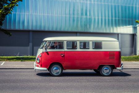 Heidenheim, Germany - July 8, 2018: Volkswagen Typ 2 T1 bus at the 2. Oldtimer day in Heidenheim an der Brenz, Germany. Editorial