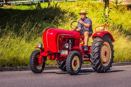 Heidenheim, Germany - July 8, 2018: Porsche diesel tractor at the 2. Oldtimer day in Heidenheim an der Brenz, Germany.